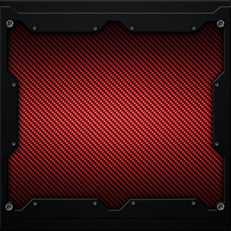 red metal plate and carbon fiber in dark gray metal frame. 3d illustration. technology concept. Фото со стока