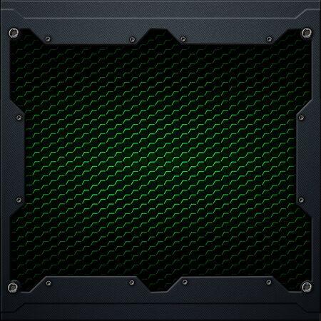 green hexagon carbon fiber in dark gray metal frame. 3d illustration. technology concept. 写真素材