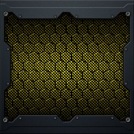 yellow or gold hexagon carbon fiber in dark gray metal frame. 3d illustration. technology concept. Фото со стока