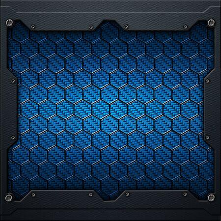 blue hexagon carbon fiber in dark gray metal frame. 3d illustration. technology concept.