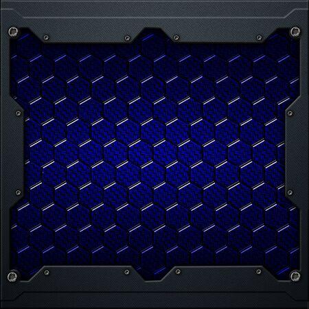 blue hexagon carbon fiber in dark gray metal frame. 3d illustration. technology concept. Zdjęcie Seryjne - 128301727