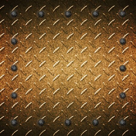 grunge metal and rust plate with screw. 3d illustration for background and texture. Фото со стока
