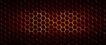 dark red hexagon background and red light with real texture. 3d illustration. Фото со стока
