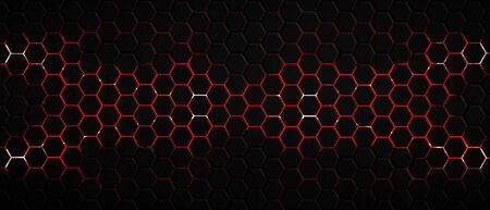 dark hexagon background and red light with real texture. 3d illustration. Zdjęcie Seryjne - 128301758