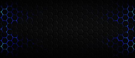 dark hexagon background and blue light with real texture. 3d illustration.