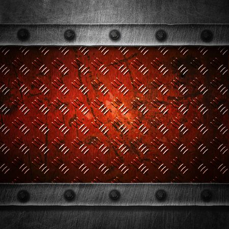 red grunge metal and rust plate. 3d illustration for background and texture. Фото со стока