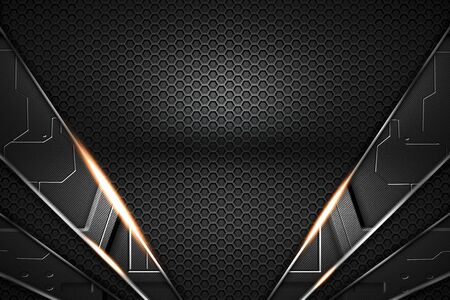 gray circuit and black carbon fiber and chromium frame. metal background. material design. 3d illustration.