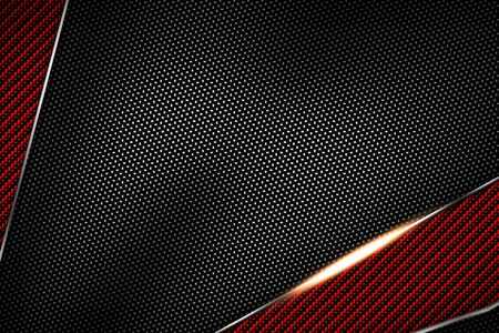 red and black carbon fiber and chromium frame. metal background. material design. 3d illustration. Zdjęcie Seryjne - 128301762