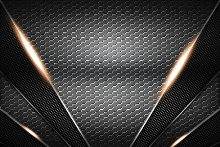 gray hexagon and black carbon fiber and chromium frame. metal background. material design. 3d illustration.