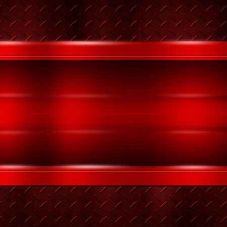 red metal plate on red metal plate for background and texture. 3d illustration.