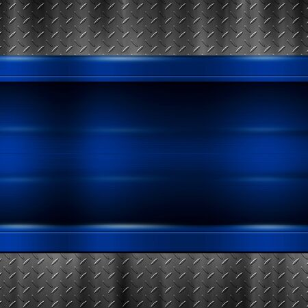 blue metal plate on black metal plate for background and texture. 3d illustration.