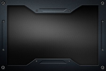 black carbon fiber and frame for background and texture. 3d illustration. Фото со стока