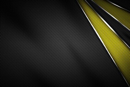 yellow and black carbon fiber and chromium frame. metal background. material design. 3d illustration.
