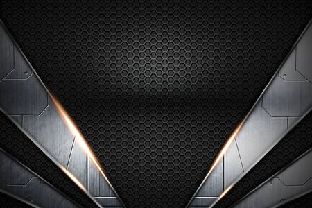 gray circuit and black carbon fiber and chromium frame. metal background. material design. 3d illustration.