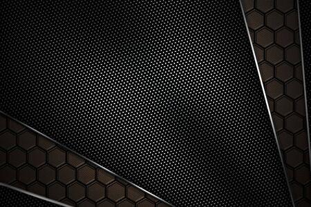 black carbon fiber and chromium frame. metal background. material design. 3d illustration.