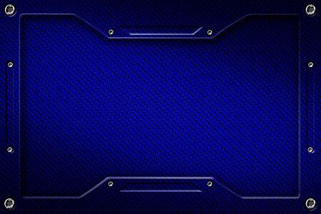 blue carbon fiber and frame for background and texture. 3d illustration.