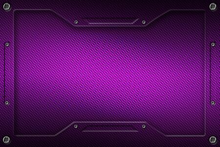 purple carbon fiber and frame for background and texture. 3d illustration.