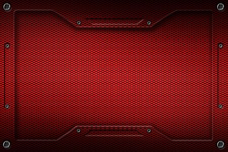 red carbon fiber and frame for background and texture. 3d illustration. Zdjęcie Seryjne