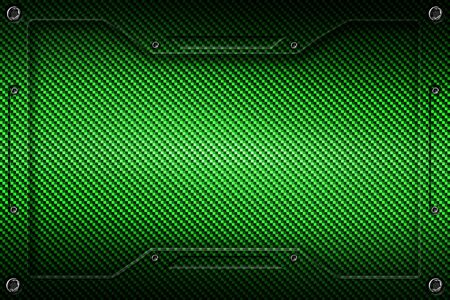 green carbon fiber and frame for background and texture. 3d illustration.