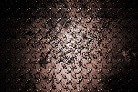 old and rust diamond plate. metal background and texture. 3d illustration design.