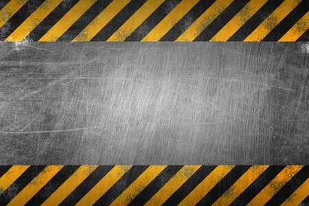 warning sign banner. yellow and black on metal plate. background and texture. illustration design.