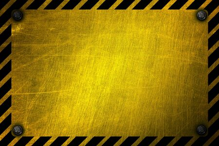 warning sign banner. yellow and black on metal plate. background and texture. 3d illustration design. 스톡 콘텐츠