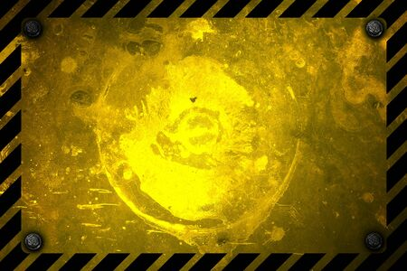 warning sign banner. yellow and black on metal plate. background and texture. 3d illustration design. Zdjęcie Seryjne
