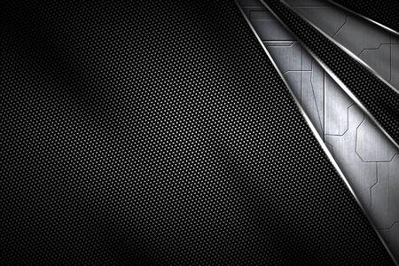 circiut black carbon fiber and chromium frame. metal background. material design. 3d illustration. Zdjęcie Seryjne