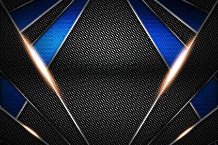 blue and black carbon fiber and chromium frame. metal background. material design. 3d illustration. Stok Fotoğraf