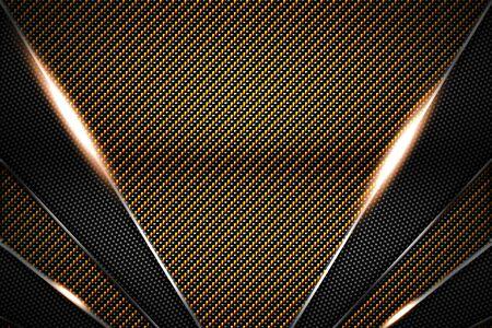 gold and black carbon fiber and chromium frame. metal background. material design. 3d illustration.