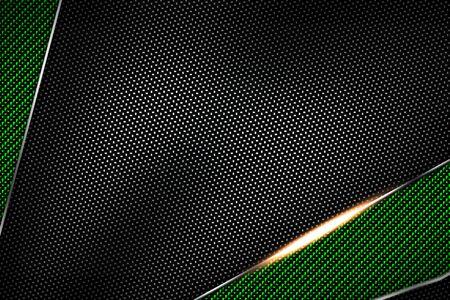 green and black carbon fiber and chromium frame. metal background. material design. 3d illustration. Stok Fotoğraf