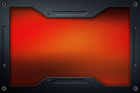 orange carbon fiber and frame for background and texture. 3d illustration.