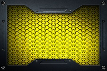 yellow carbon fiber and frame for background and texture. 3d illustration. Zdjęcie Seryjne