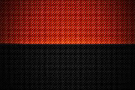 orange and black carbon fiber. two tone metal background and texture. 3d illustration design. Zdjęcie Seryjne