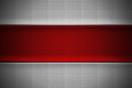 red and white carbon fiber. two tone metal background and texture. 3d illustration design.