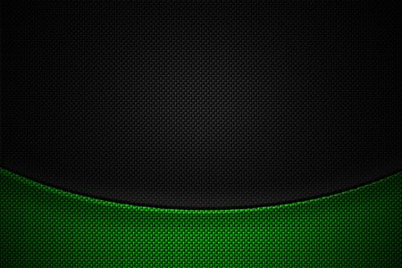 green and black carbon fiber. two tone metal background and texture. 3d illustration design.
