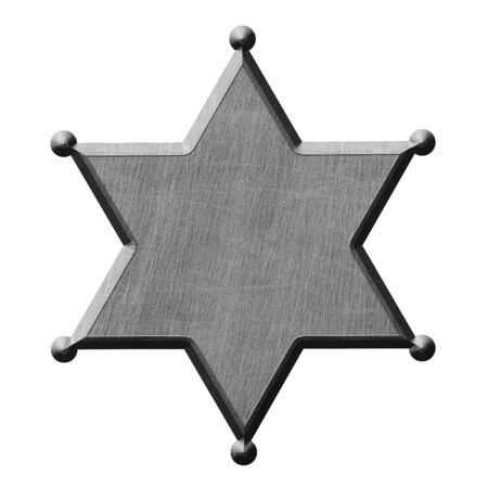 old metal sign board. sheriff star. white background isolated. 3d illustration design.