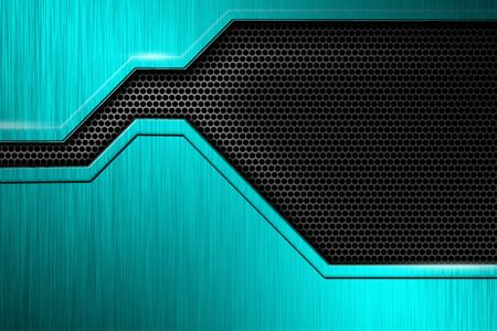 green metal plate and black mesh. metal background and texture. technology concept. 3d illustration. Zdjęcie Seryjne
