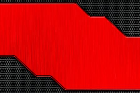 red metal plate and black mesh. metal background and texture. technology concept. 3d illustration.
