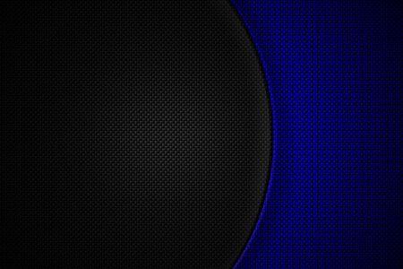 Fibra de carbono azul y negra. Fondo y textura de metal de dos tonos. Diseño de ilustración 3d.