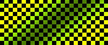 green and black checkered flag for racing background and texture. 3d illustration banner. extreme widescreen ratio.