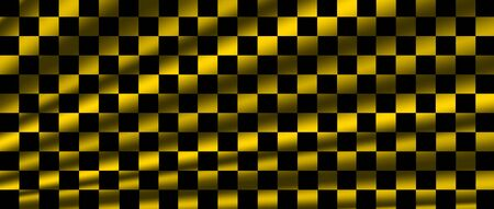 yellow and black checkered flag for racing background and texture. 3d illustration banner. extreme widescreen ratio.