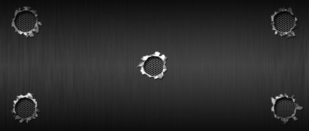 bullet hole on black metallic mesh and metal background textured. 3d illustration. extreme widescreen ratio.