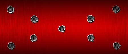 bullet hole on red metallic mesh and metal background textured. 3d illustration. extreme widescreen ratio. Zdjęcie Seryjne