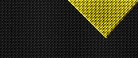 yellow and black carbon fibre background and texture. 3d illustration. extreme widescreen for website template.