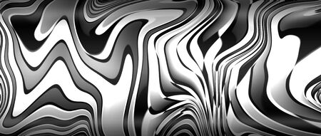 black and white liquid metal with light and shadow. metal background and texture. 3d illustration. Zdjęcie Seryjne