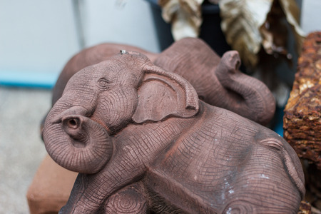 carved: Elephant shaped carved stone Stock Photo