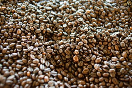 Roasted coffee beans Before being blended and brewed for drinking Stock fotó
