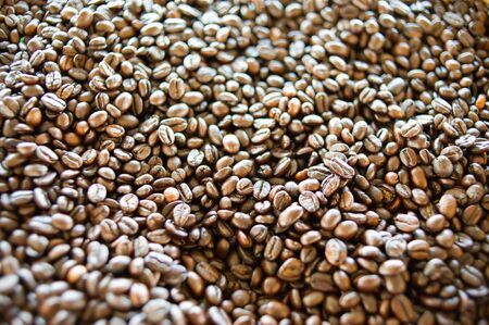 Roasted coffee beans Before being blended and brewed for drinking