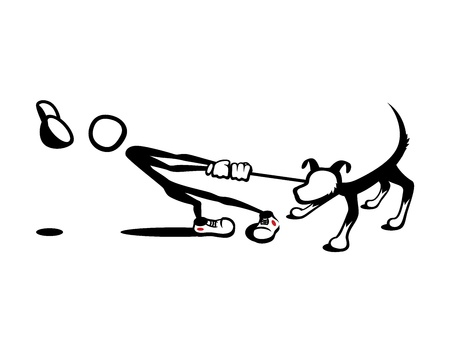 dog leash: Stick Man: Reluctant Dog Illustration